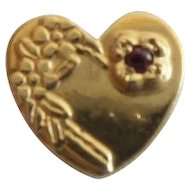 14KARAT Garnet  Heart Slide For Add A Slide Bracelet
