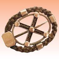 Antique Mourning 14KARAT Braided Hair Oval Pin