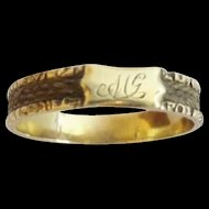 "Antique 10KARAT Yellow Gold Hair Mourning Ring "" MONOGRAM  MG  &  HAIR in the Band """