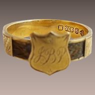 """Antique 9KARAT Yellow Gold Hair Shield Mourning Ring  """"MONOGRAMMED JBP"""""""