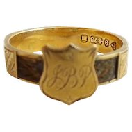 "Antique 9KARAT Yellow Gold Hair Shield Mourning Ring  ""MONOGRAMMED JBP"""
