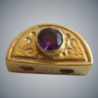 """14KARAT Yellow Gold  Amethyst add a Slide for Add a Side Bracelet.""""HALF MOON"""""""