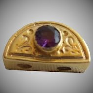 "14KARAT Yellow Gold  Amethyst add a Slide for Add a Side Bracelet.""HALF MOON"""