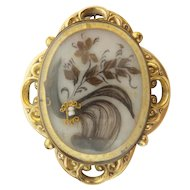 BIG Victorian Hair Pinchbeck Brooch. A BEAUTY! Outstanding and Exquisite