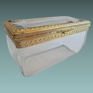 """Antique French Crystal """"CASE GLASS"""" Casket Hinged Box """"EXQUISITE"""""""