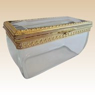 "Antique French Crystal ""CASE GLASS"" Casket Hinged Box ""EXQUISITE"""