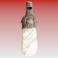 Antique Sterling Mother of Pearl Whistle