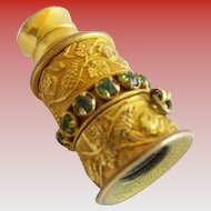 Antique French Jeweled Gilt Miniature Monocular Circled Green Gems