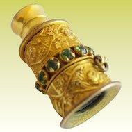 Antique French Jeweled Gilt Miniature Monocular Circled Green Gems