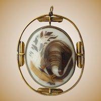 """9K Victorian Mourning Hair Pendant """" REVOLVING PENDANT"""""""