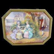 "GRANDEST Antique French Limoges Casket Hinged Box ""NINE PLAQUES"""