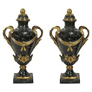 "Glorious 26"" 19C Bronze Marble Urns "" DARK GREEN """