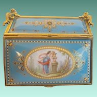 "Antique French Sevres""CHERUB ""Jeweled Casket Hinged Box"