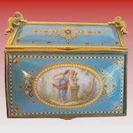 "Antique French Sevres""CHERUB ""Jeweled Casket Hinged Box"