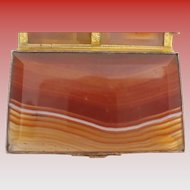 """Antique Footed Banded Agate Box """"BALL FEET""""   Beautiful Gilt Bronze Mounts"""
