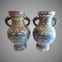 """MASSIVE 22"""" Antique Pair of Chinese Cloisonné Taotie Vases Urns """"Dragon Flange Handles"""""""
