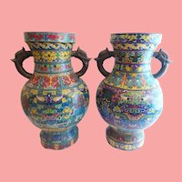 "22"" Antique Pair of Chinese Cloisonné Taotie Vases Urns  ""Dragon Flange Handles"""