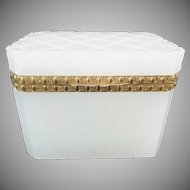 "Antique White French Opaline Casket Hinged Box ""Exquisite Gilt Bronze Mounts"""