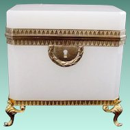 "Antique French White Opaline Casket Hinged Box ""Awesome Footed Base""  A BEAUTY!"