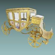 """Charming  7"""" Austrian Viennese Enamel """"Putti Pastoral"""" Miniature Coach w  NINE PLAQUES"""