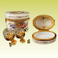 Antique Baccarat Opaline Scent Casket  ~ Magnificent Flowers & Exquisite Footed Gilt Ormolu Stand ~ Two BIG  Scent Bottles