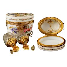 1860  Baccarat Opaline Scent Casket  ~   Magnificent Flowers & Exquisite Footed Gilt Ormolu Stand ~ Two BIG  Scent Bottles
