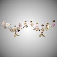 "Beautiful  PAIR 18"" Antique French Five Light Bronze Porcelain Candelabras  ~ EXQUISITE"