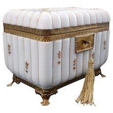 BIG Antique French White Opaline Casket Hinged Box ~ Extraordinary Gilding &  Glorious Dore' Bronze Footed Base ~  BEAUTIFUL