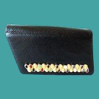 """Vintage Judith Leiber Black """"SNAKESKIN"""" ~ Jeweled Bar Clasp  ~   A Snakeskin Shoulder Strap & Lots of Original Goodies"""