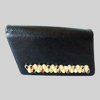 "Judith Leiber Black ""SNAKESKIN"" ~ Jeweled Bar Clasp  ~   A Snakeskin Shoulder Strap & Lots of Original Goodies"