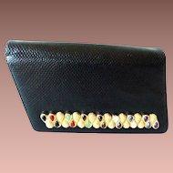 """Gorgeous  Estate Vintage Judith Leiber Black """"SNAKESKIN"""" ~ Jeweled Bar Clasp  ~   A Snakeskin Shoulder Strap & Lots of Original Goodies"""