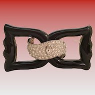 14KARAT Diamond & Platinum Onyx Bow Brooch ~  An EXQUISITE  3 Carat Art-Deco Black Onyx Bow Brooch