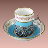 Magnificent Antique George Jones Porcelain Demitasse Cups & Saucers  ~  Demitasse Cups  in Exquisite Sliver Filigree Holders &  Six Matching Saucers