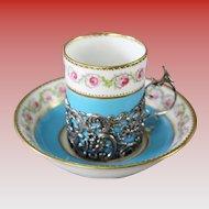 Antique George Jones Porcelain Demitasse Cups & Saucers Set in the Original Fitted Presentation Case ~  Demitasse Cups  in Exquisite Sliver Filigree Holders &  Six Matching Saucers