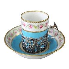 Magnificent Antique George Jones Porcelain Demitasse Cups & Saucers  ~  Demitasse Cups  in Exquisite Sliver Filigree Holders &  Six Matching Saucers