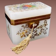 "Antique French White Opaline Casket Hinged Box  ~ "" A Gorgeous Garden of Flowers"""