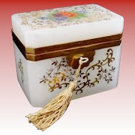 """Antique French White Opaline Casket Hinged Box  ~ """" A Gorgeous Garden of Flowers"""""""