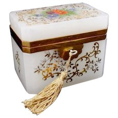 """Antique French White Opaline Casket Hinged Box """" A Gorgeous Garden of Flowers"""""""
