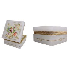 Antique French White Opaline Hinged Box ~ Pretty Hand Enamel Gilding and Flowers with Fancy Dore' Bronze Mounts ~ A BEAUTY from My Treasure Vault.