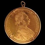 """Beautiful  1 ½"""" Austrian 986 4 Gold Ducat ~  With the figure of Franz Joseph ~  10KARAT Yellow Gold Bezel"""