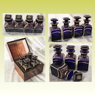 Antique Scent Casket with 4  Fabulous Cobalt Bottles ~  4 Luscious Cobalt Bottles with STUNNING GILDING ~