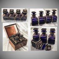 Antique Scent Casket with 4  Fabulous Cobalt Bottles ~  4 Luscious Cobalt Bottles with STUNNING GILDING ~