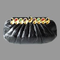 Vintage Estate Judith Leiber Jeweled Black Karung Purse ~  Use as Clutch or Comes with a Karung Removable Strap
