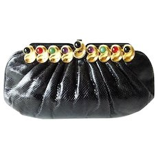 Magnificent Vintage Estate Judith Lieber Jeweled Black Karung Purse ~ Use as Clutch or Comes with a Black Karung Removable Strap  ~ A BEAUTY!