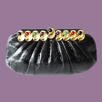 Vintage Estate Judith Lieber Jeweled Black Karung Purse ~  Use as Clutch or Comes with a Karung Removable Strap