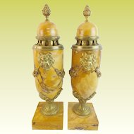 """PAIR 17 ¼"""" French Gilt Bronze Mounted Marble Urns """"Sienna Brocatelle """""""