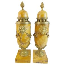 "PAIR 17 ¼"" French Gilt Bronze Mounted Marble Urns ""Sienna Brocatelle """