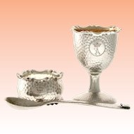 1896 Swedish Silver Christening Set from C.G Hallberg  ~ Napkin Ring, Egg Cup & Spoon ~  Lovely Hand Hammered & Monogrammed A under a Crown ~ Original Presentation Case