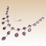 """16"""" Antique Edwardian Sterling Silver 9mm Amethyst Czech Glass Crystal Graduated Drop Necklace  ~ Absolutely Gorgeous"""