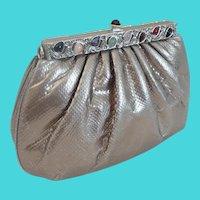 Judith Leiber Silver Snakeskin KARUNG Jeweled Handbag  ~  Original Mirror & Coin Purse